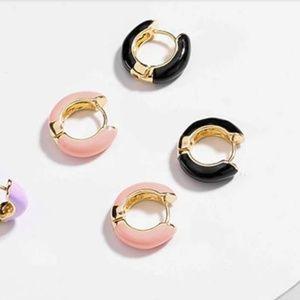 Mini Hoop Earrings Cuffs Enamel Color block